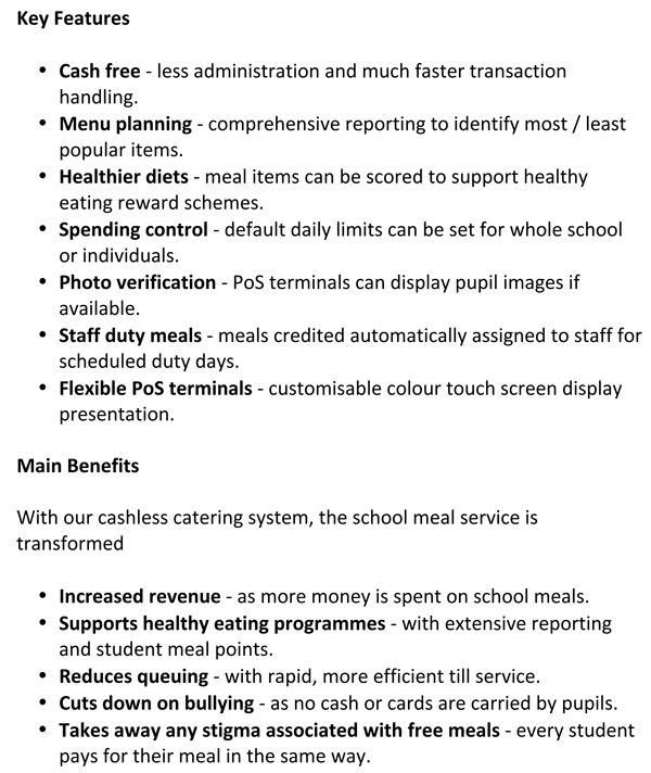 cashless catering key features