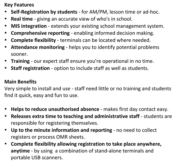 student registration key features